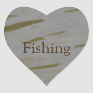 Fishing Rippling Water Heart Sticker