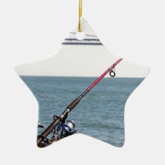 Fishing Rod on the Pier in San Francisco Bay Ceramic Ornament