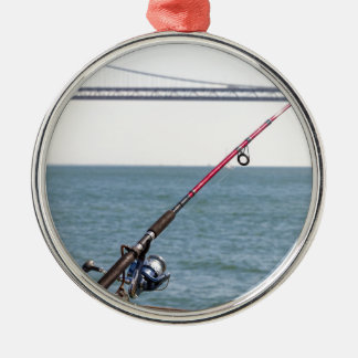 Fishing Rod on the Pier in San Francisco Bay Metal Ornament