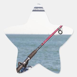 Fishing Rod on the Pier in San Francisco Bay Star Sticker