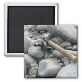 Fishing Rod on the Rocks Refrigerator Magnet