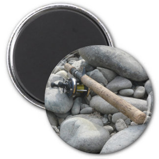 Fishing Rod on the Rocks Fridge Magnet