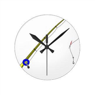 Fishing Rod Round Clock