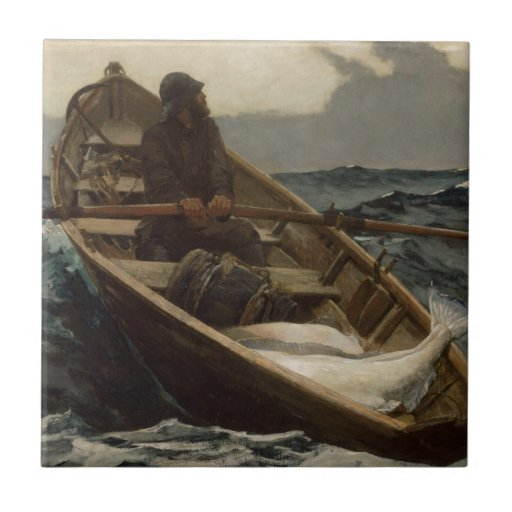 Fishing Rowboat Winslow Homer Small Square Tile
