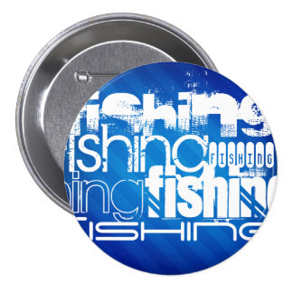 Fishing; Royal Blue Stripes Pinback Button