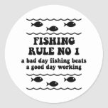 Fishing Rule No 1 Classic Round Sticker