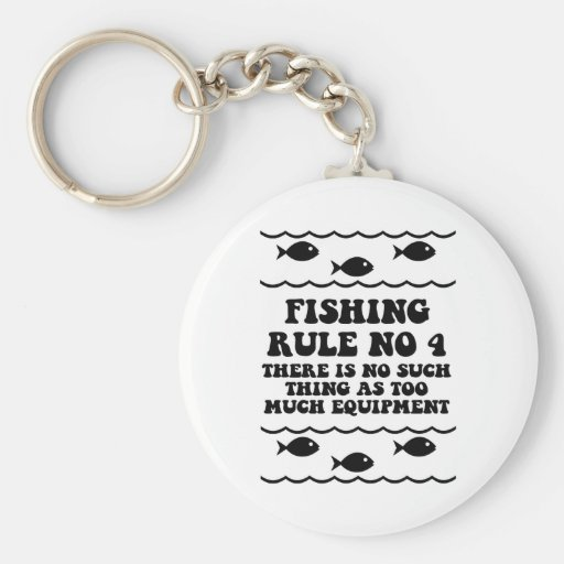 Fishing Rule No 4 Basic Round Button Keychain