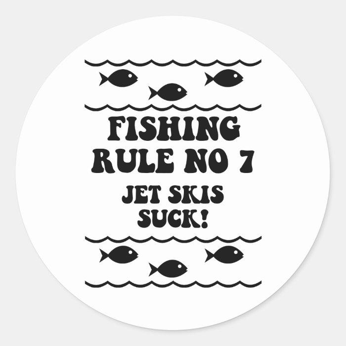 Fishing Rule No 7 Classic Round Sticker