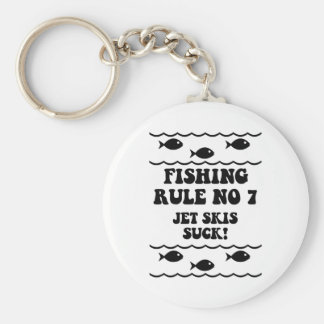Fishing Rule No 7 Basic Round Button Keychain