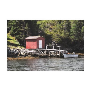 Ocean Themed Fishing Shed in Smith's Harbour, Newfoundland Canvas Print
