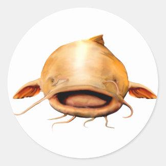 Fishing smile classic round sticker