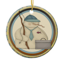 Fishing Snowman Christmas Ornament