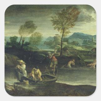 Fishing Square Sticker