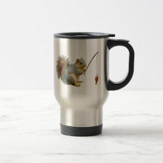Fishing Squirrel Travel Mug