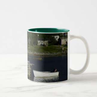 Fishing Stage and Gull in Brent's Cove Two-Tone Coffee Mug