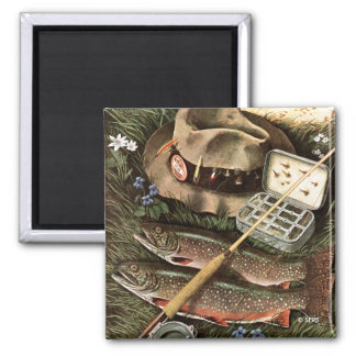 Fishing Still Life 2 Inch Square Magnet