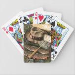 "Fishing Still Life Bicycle Playing Cards<br><div class=""desc"">Artist: John Atherton   Fisherman&#39;s still life -fish,  lures,  rod</div>"