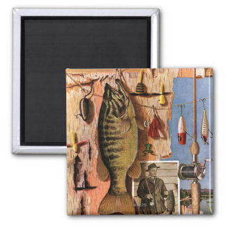 Fishing Still Life by John Atherton 2 Inch Square Magnet
