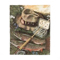 Fishing Still Life Fleece Blanket