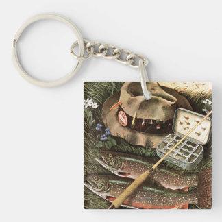 Fishing Still Life Square Acrylic Key Chain