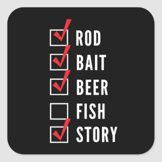 Fishing Story Checklist Square Sticker