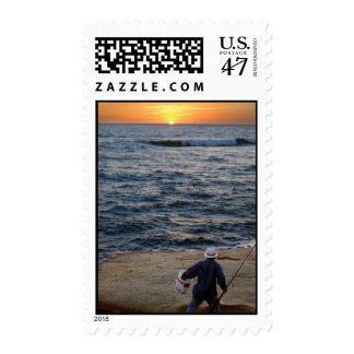 Fishing Sunset postage stamp