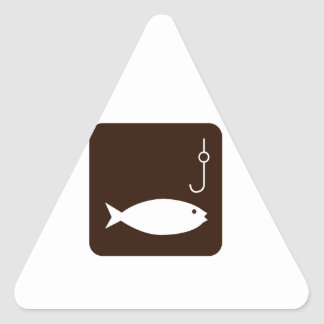 Fishing Symbol Triangle Stickers