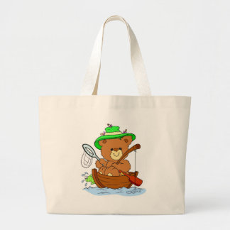 Fishing Teddy Bear Canvas Bag