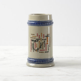 Fishing Terms Colored Ltrs hook background 18 Oz Beer Stein
