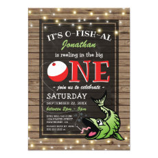 Fishing Theme Birthday | Rustic The Big One Invitation