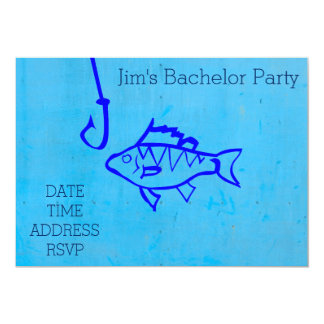 Fishing themed blue Bachelor Party 5x7 Paper Invitation Card