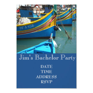 Fishing themed fishing boats Bachelor Party 5x7 Paper Invitation Card