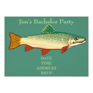 Fishing themed trout Bachelor Party Card