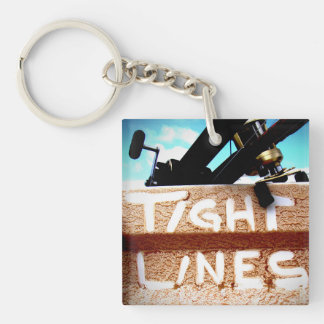Fishing tight lines fishing rod fishing reel Double-Sided square acrylic keychain