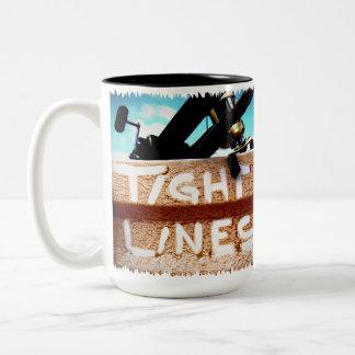 Fishing tight lines fishing rod fishing reel Two-Tone coffee mug