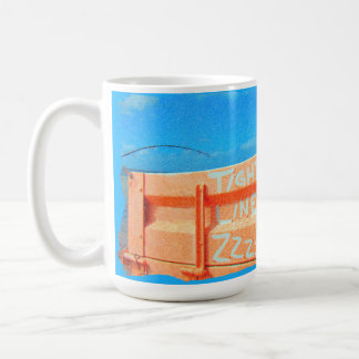 Fishing tight lines zz blue orange sky fishing rod coffee mug