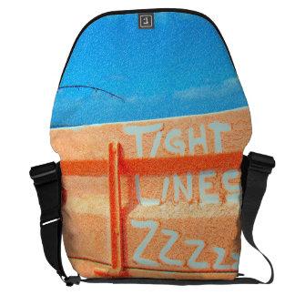 Fishing tight lines zz blue orange sky fishing rod courier bag