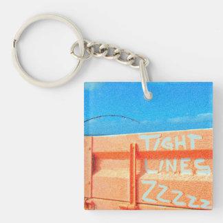 Fishing tight lines zz blue orange sky fishing rod Double-Sided square acrylic keychain