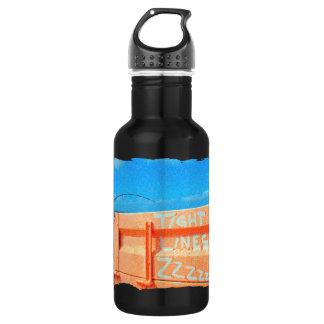 Fishing tight lines zz blue orange sky fishing rod water bottle