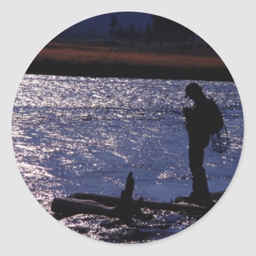 Fishing Till Dusk Round Stickers