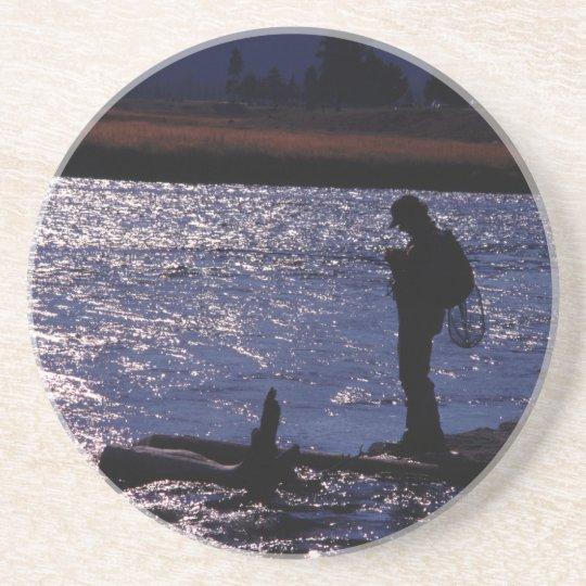 Fishing Till Dusk Sandstone Coaster