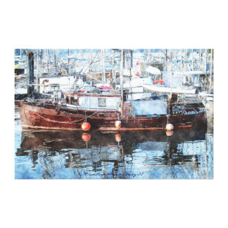 Fishing Trawler in Canadian Marina Watercolour Art Canvas Print