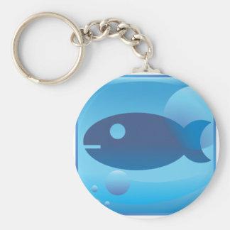 Fishing Underwater Blue Icon Button Basic Round Button Keychain