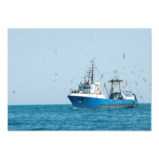 Fishing vessel comes back to the port card