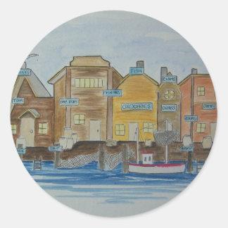 Fishing Village #1 Classic Round Sticker