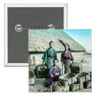Fishing Village in Old Japan Vintage Japanese Pinback Button