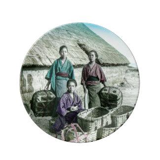 Fishing Village in Old Japan Vintage Japanese Plate