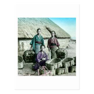 Fishing Village in Old Japan Vintage Japanese Postcard
