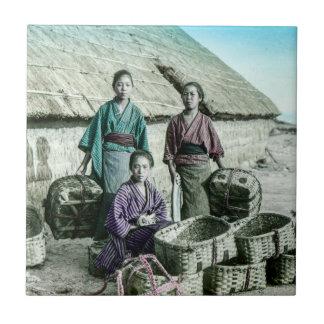 Fishing Village in Old Japan Vintage Japanese Tile