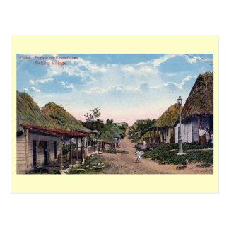 Fishing Village, Pueblo Pescadores, Cuba Vintage Postcard